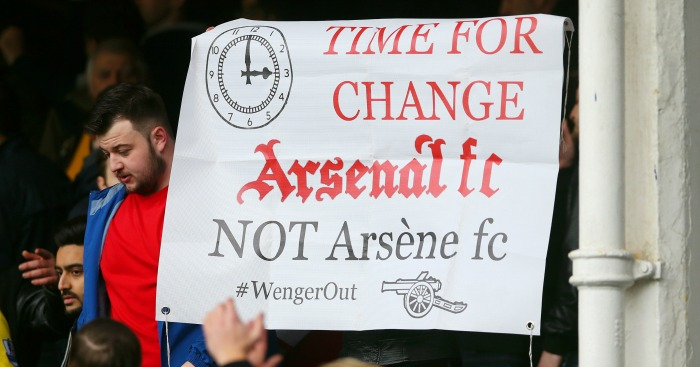 Arsenal fans: Held aloft banner calling for Arsene Wenger to leave