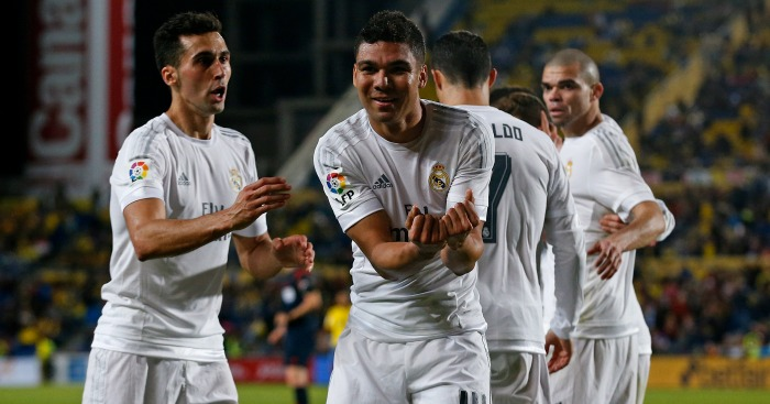 Casemiro: Celebrates scoring for Real Madrid against Las Palmas