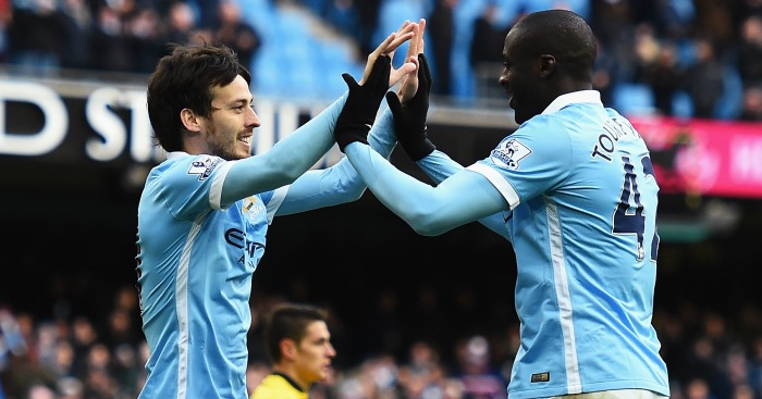 Yaya Toure: Celebrates his goal with David Silva