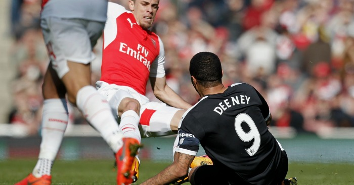 Gabriel Troy Deeney Arsenal v Watford