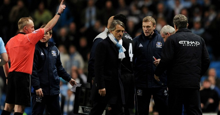 Mancini and Moyes: Send off after scuffle