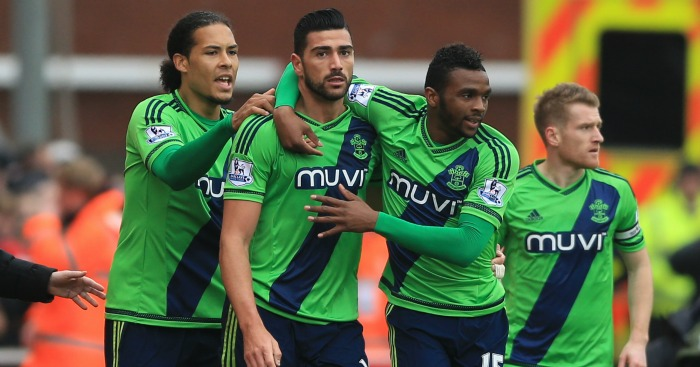 Grazianno Pelle: Celebrates Saints' opener at Stoke