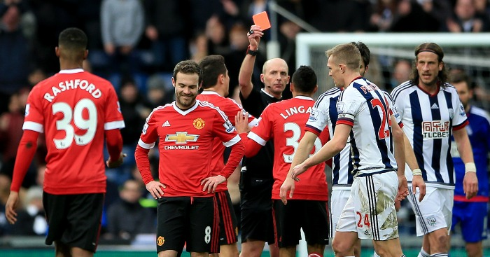 Juan Mata: Shown red card in Manchester United's defeat at West Brom