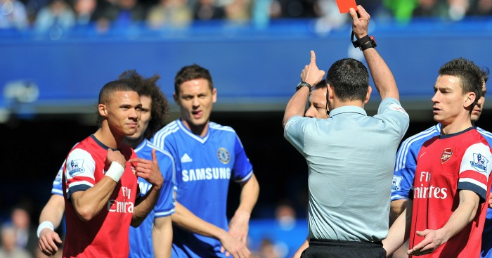 Kieran Gibbs: Incorrectly sent off at Chelsea in 2014