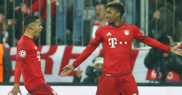 Kingsley Coman: Celebrates his goal