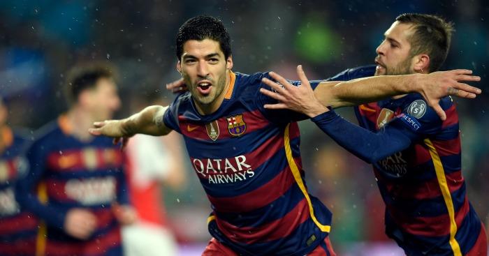 Luis Suarez: Celebrates Barcelona's winner