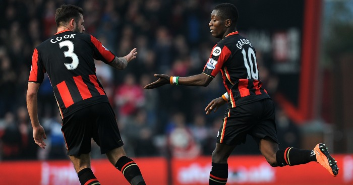 Max Gradel: Celebrates his goal for Bournemouth