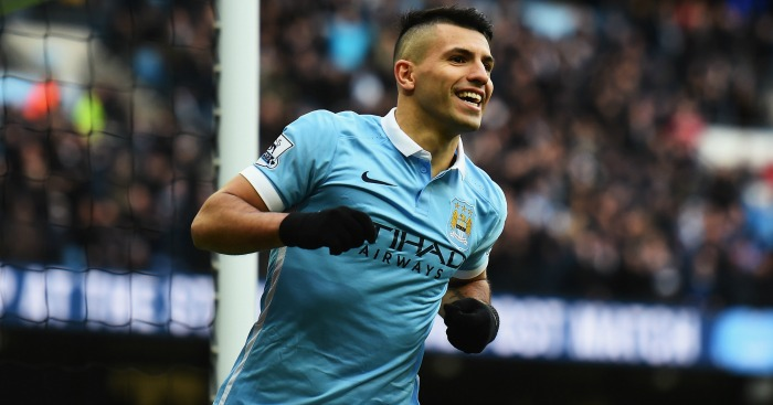 Sergio Aguero: Celebrates his first against Villa