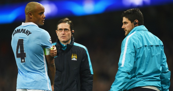 Vincent Kompany: Could return from calf injury in a month
