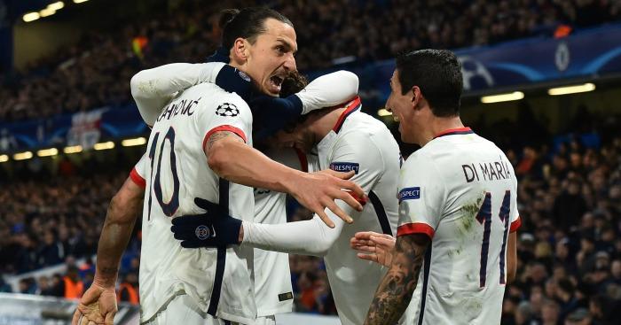 Zlatan Ibrahimovic: Celebrates his goal at Stamford Bridge