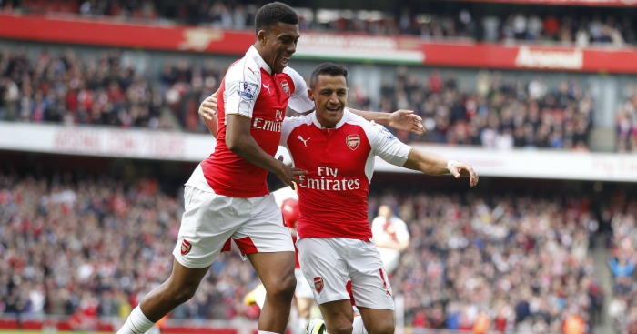 Alex Iwobi and Alexis Sanchez: Celebrate Arsenal's opener
