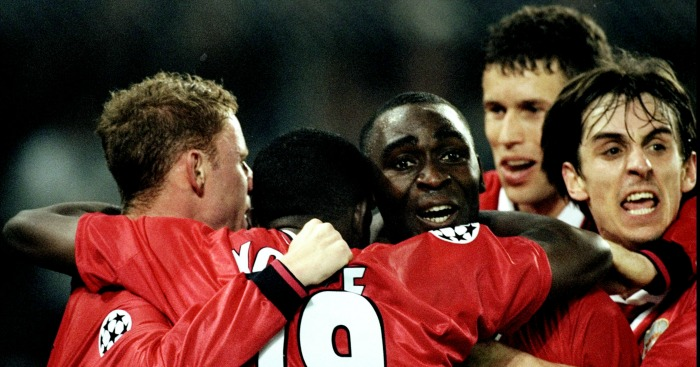 Andy Cole: Celebrates his winner against Juventus in 1999