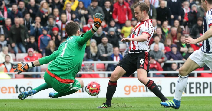 during the Barclays Premier League match between Sunderland and West Bromwich Albion at Stadium of Light on April 2, 2016 in Sunderland, England.