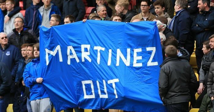 Everton fans Roberto Martinez banner