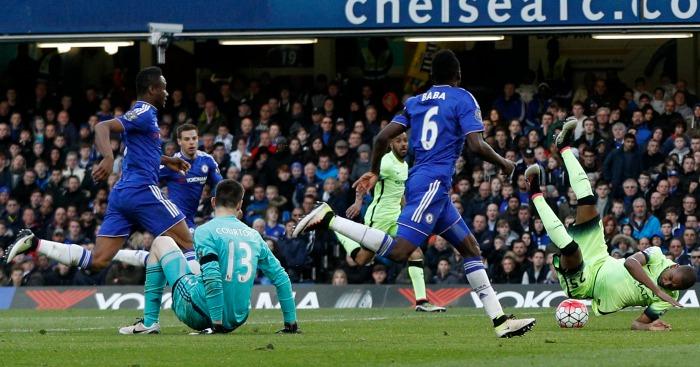 Fernandinho Thibaut Courtois Chelsea v Manchester City