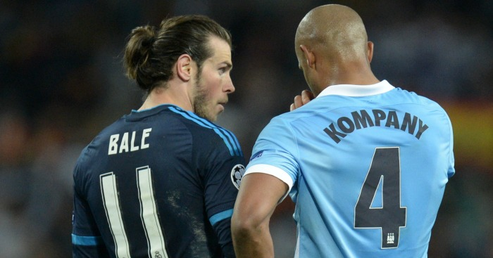 Gareth Bale: Discusses the result with Vincent Kompany