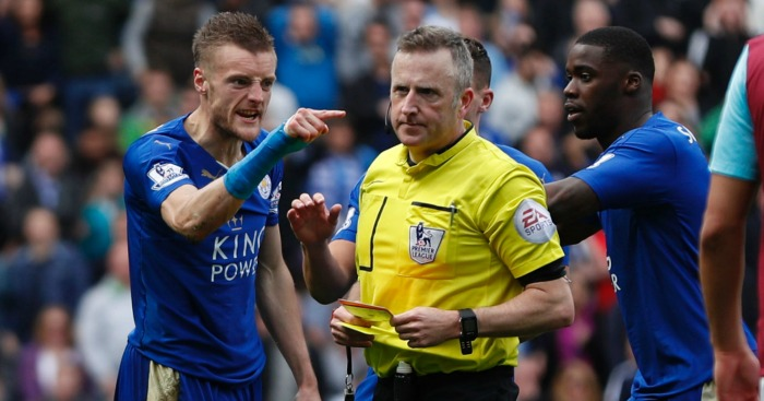 Jamie Vardy: Points the finger at referee Jon Moss