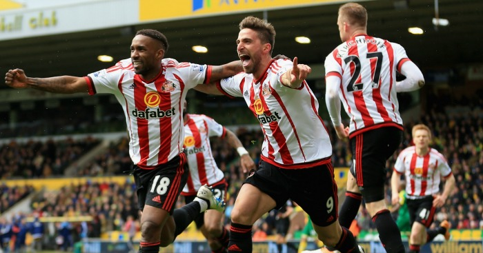 Jermain Defoe: Celebrates with fellow scorer Fabio Borini
