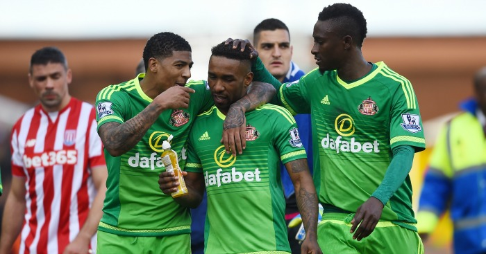 Jermain Defoe: Celebrates with Sunderland team-mates at full-time