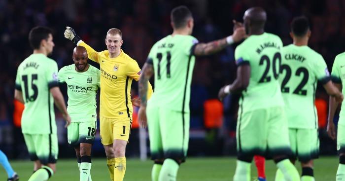 Joe Hart: Celebrates after Manchester City's draw at PSG