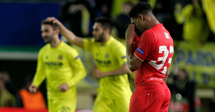Jordan Ibe: Winger looks on after Villarreal winner