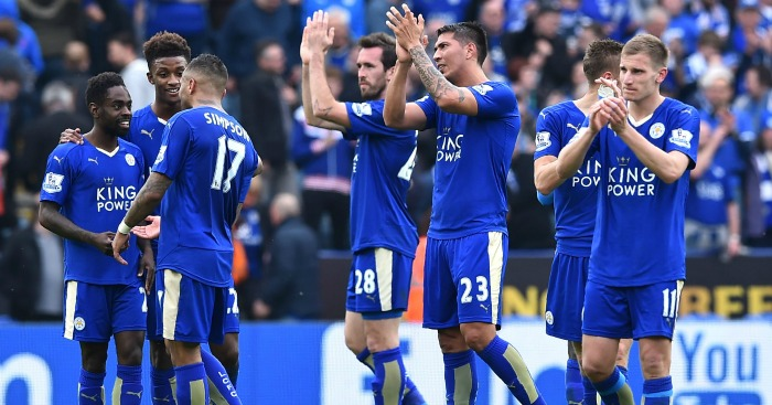 Leicester: Celebrate their win against Southampton