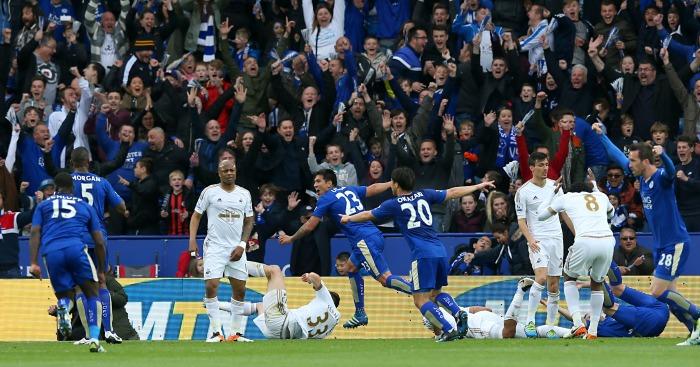 Leonardo Ulloa: Celebrates putting Leicester 2-0 up against Swansea