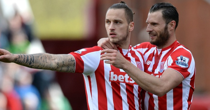Marko Arnautovic: Celebrates his goal for Stoke
