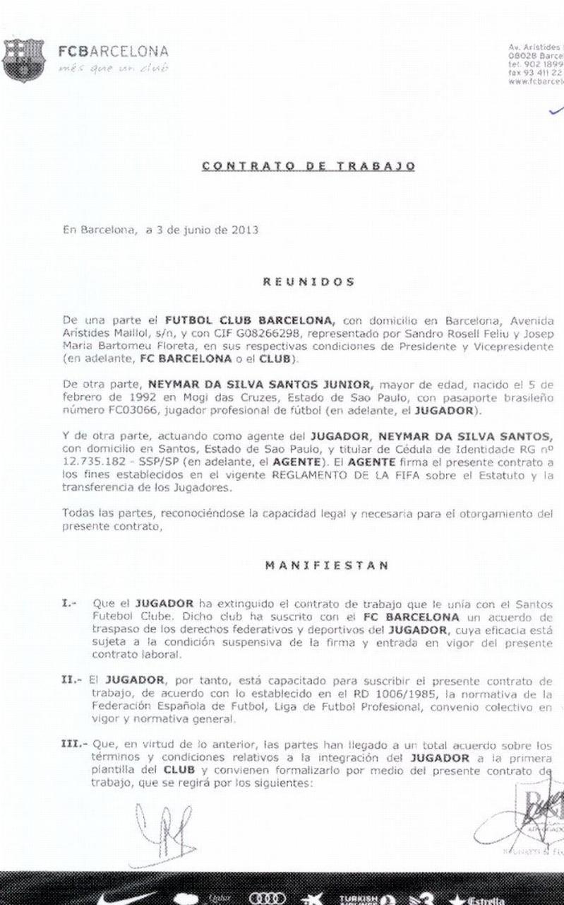 Neymar's Barcelona contract