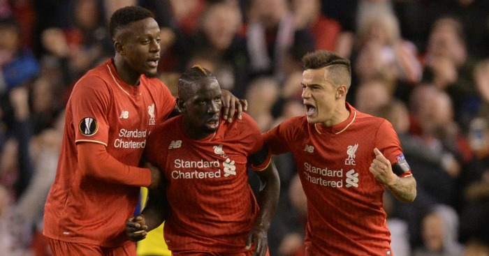 Diviock Origi: Celebrates with Mamadou Sakho and Philippe Coutinho
