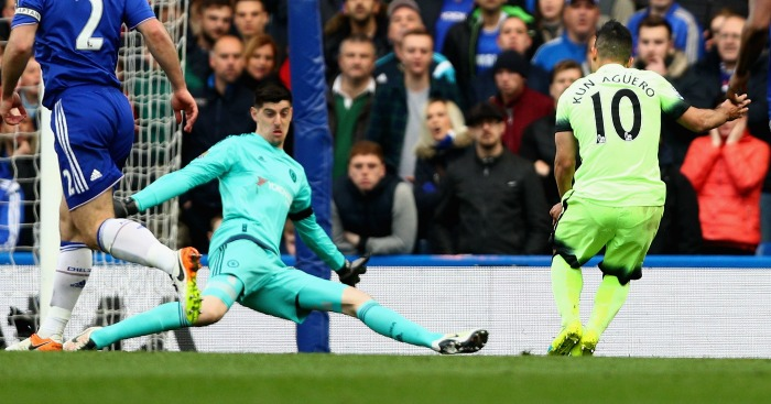 Sergio Aguero scores Chelsea v Manchester City