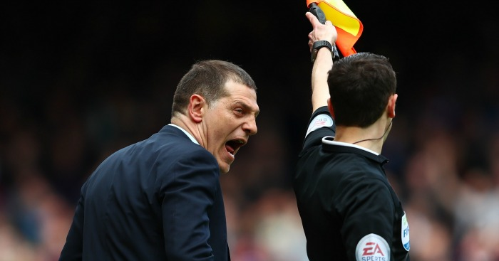 Slaven Bilic: Lets his feelings known to the referee's assistant