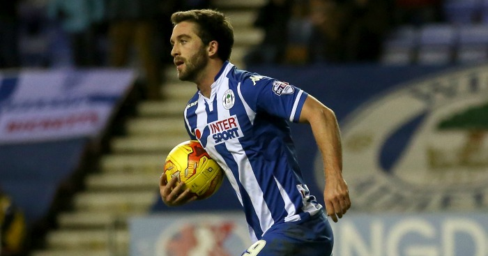 Wigan Athletic's Will Grigg celebrates scoring his side's first goal of the game