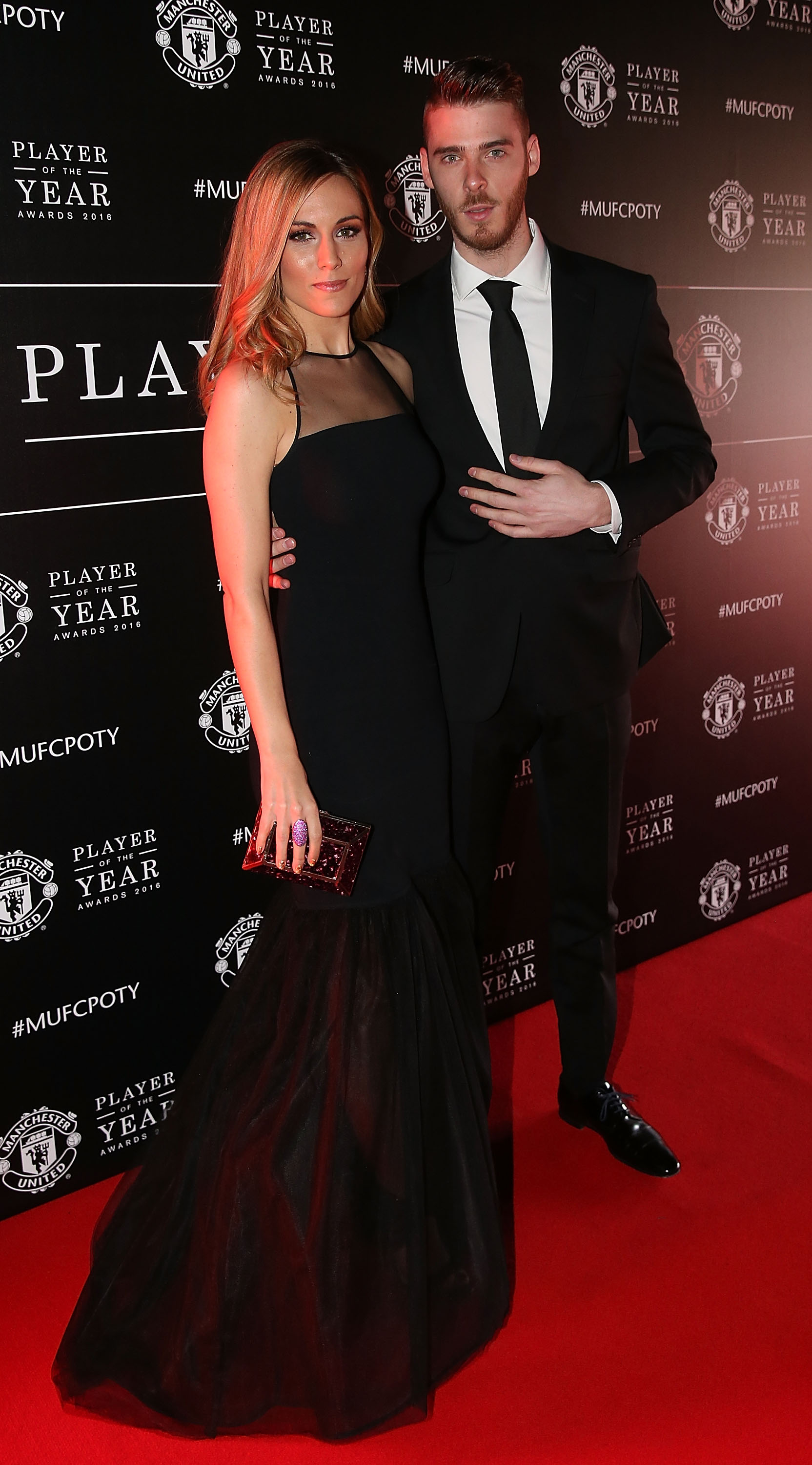 MANCHESTER, ENGLAND - MAY 02: David de Gea of Manchester United arrives with his partner at the club's annual Player of the Year awards at Old Trafford on May 2, 2016 in Manchester, England. (Photo by Matthew Peters/Man Utd via Getty Images)