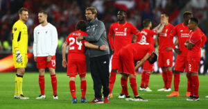 BASEL, SWITZERLAND - MAY 18: Jurgen Klopp, manager of Liverpool and players look on at the award ceremoy after the UEFA Europa League Final match between Liverpool and Sevilla at St. Jakob-Park on May 18, 2016 in Basel, Switzerland. (Photo by Michael Steele/Getty Images)