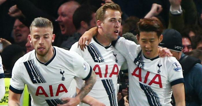 Harry Kane: Celebrates with fellow goalscorer Son Heung-Min