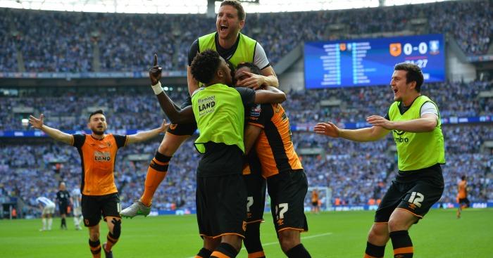Hull celebrate Mohamed Diame v Sheffield Wednesday
