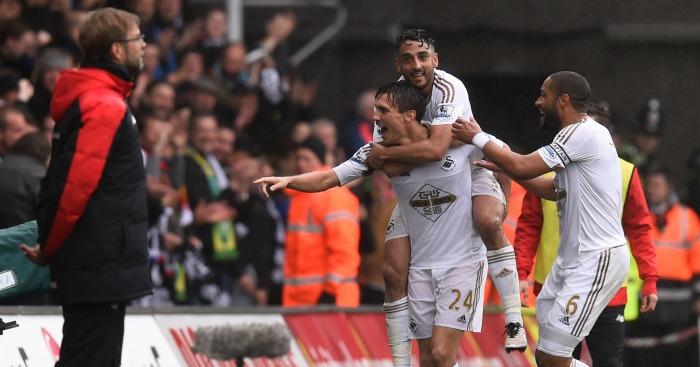 Jack Cork: Celebrates Swansea City's second goal against Liverpool