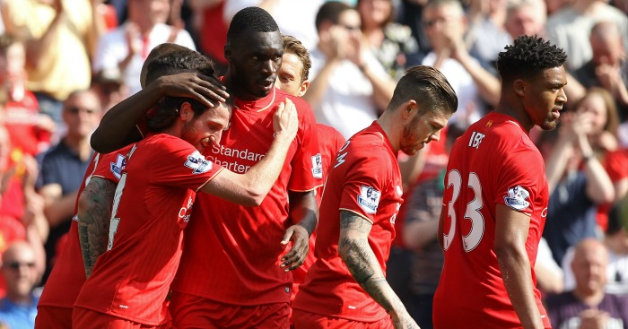 Joe Allen: Midfielder celebrates with Christian Benteke
