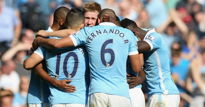 Kevin De Bruyne: Mobbed after netting Man City's second