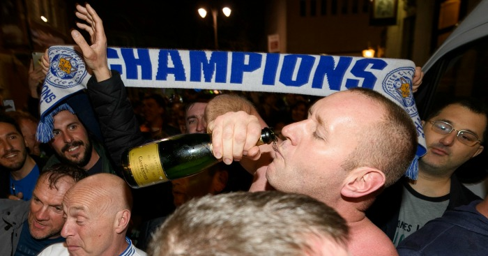 Leicester City fans: Celebrate after Chelsea's draw against Tottenham