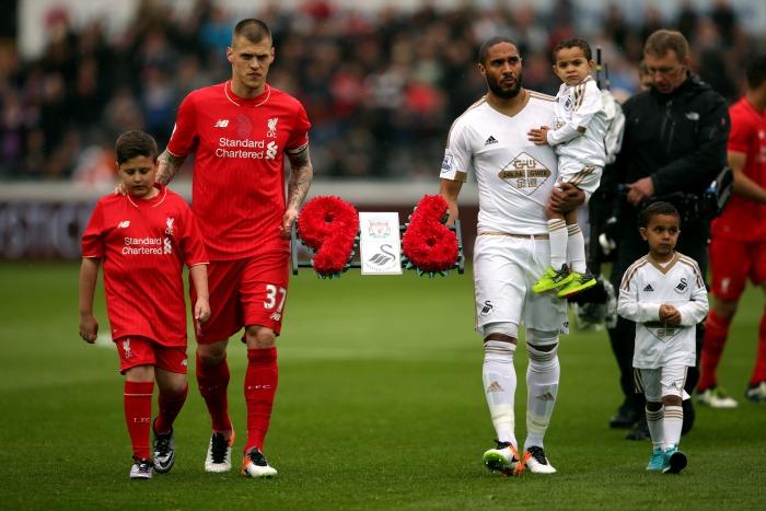 Martin Skrtel Ashley Williams wreath Swansea Liverpool