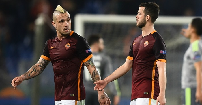 Radja Nainggolan (L) and Miralem Pjanic (R): May have Chelsea moves blocked