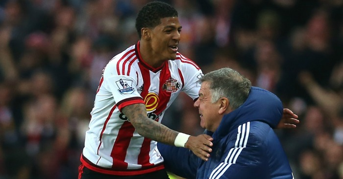 Patrick van Aanholt: Celebrates with Sam Allardyce