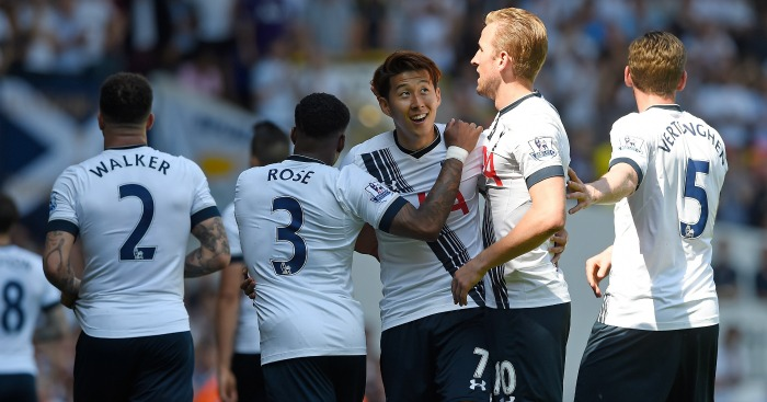 Son Heung-Min: Celebrates his goal for Tottenham