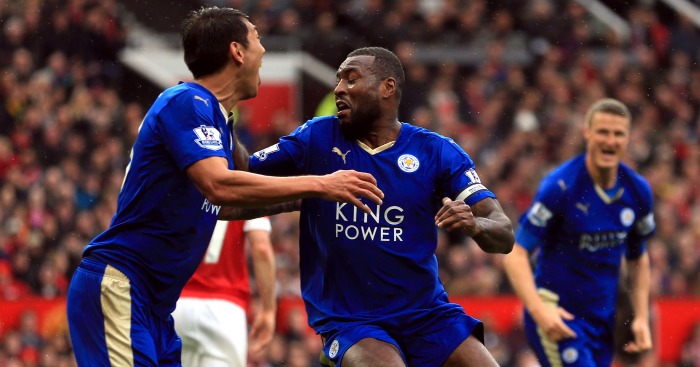 Wes Morgan: Celebrates Leicester City's equaliser at Manchester United