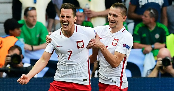 Arkadiusz Milik: Celebrates Poland's winning goal