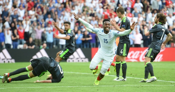 Daniel Sturridge celebrates England v Wales 1