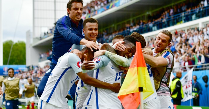 Daniel Sturridge: Mobbed after scoring late England winner
