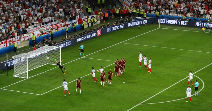 Eric Dier free-kick England v Russia